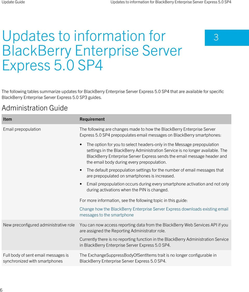 Administration Guide Item Email prepopulation Requirement The following are changes made to how the BlackBerry Enterprise Server Express 5.