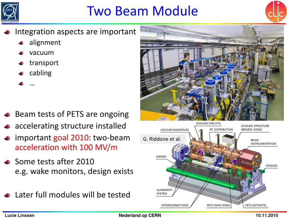 important goal 2010: two-beam acceleration with 100 MV/m Some tests after 2010