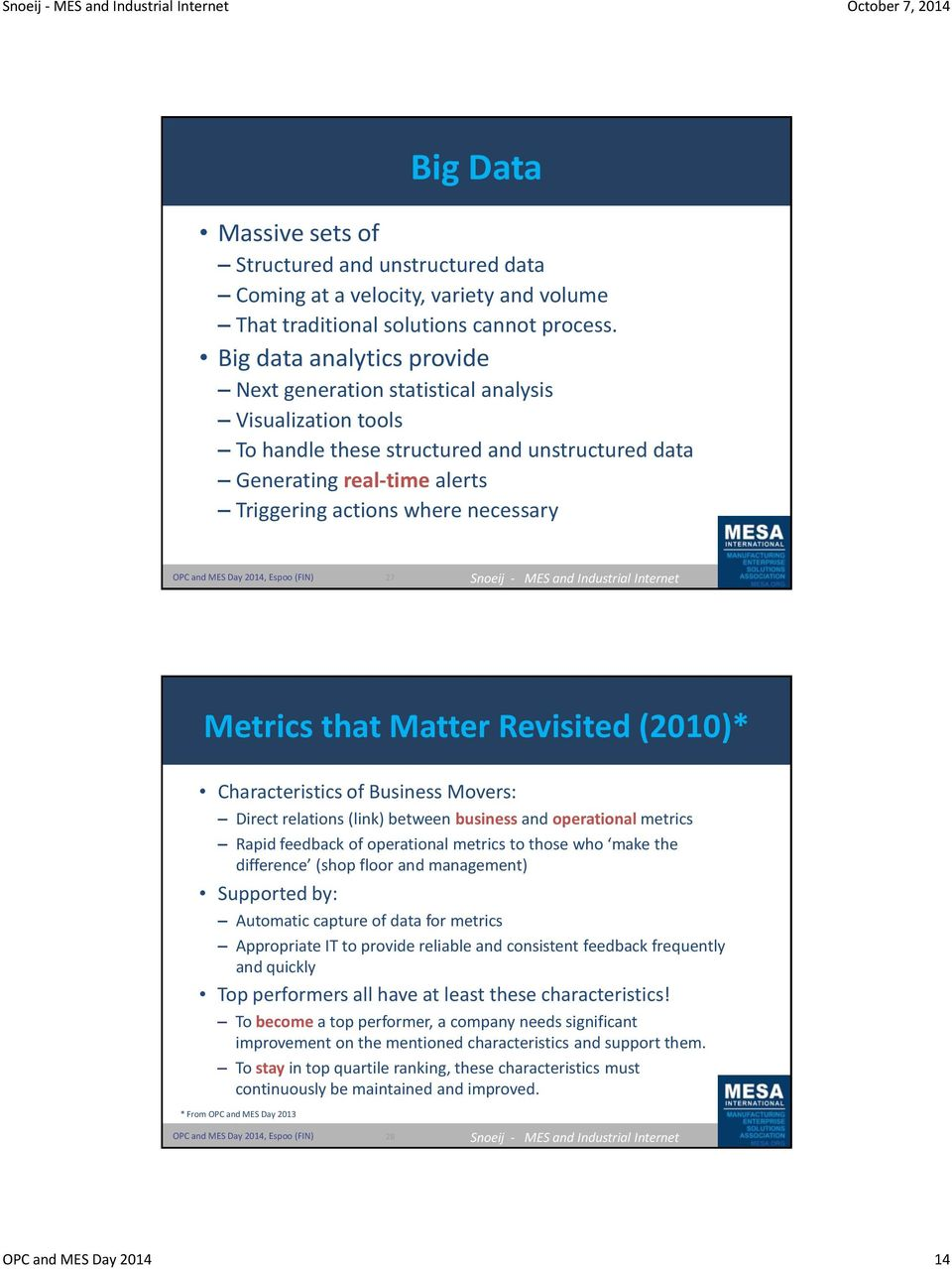 Metrics that Matter Revisited (2010)* Characteristics of Business Movers: Direct relations (link) between business and operational metrics Rapid feedback of operational metrics to those who make the