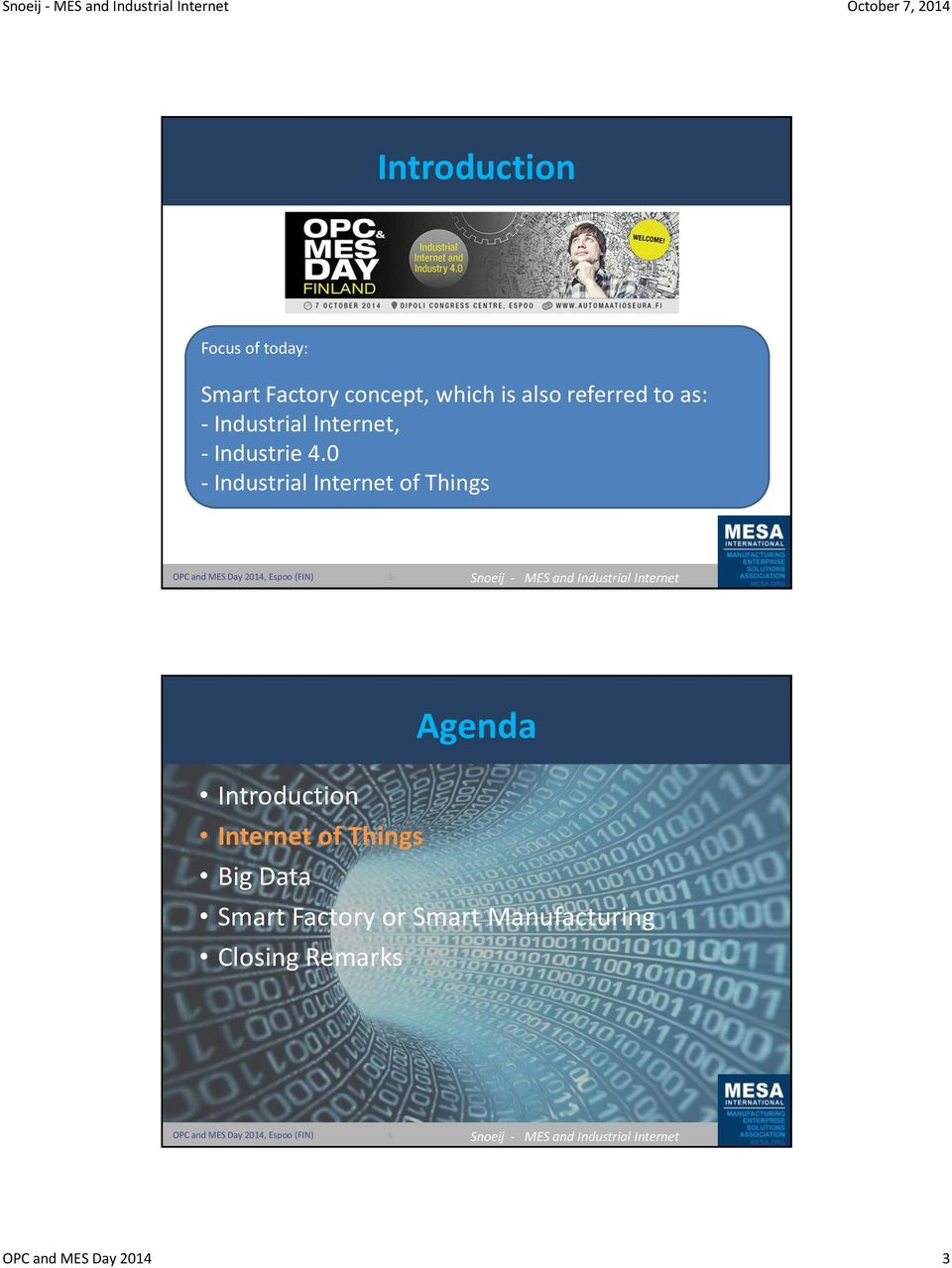 0 - Industrial Internet of Things 5 Agenda Introduction Internet of