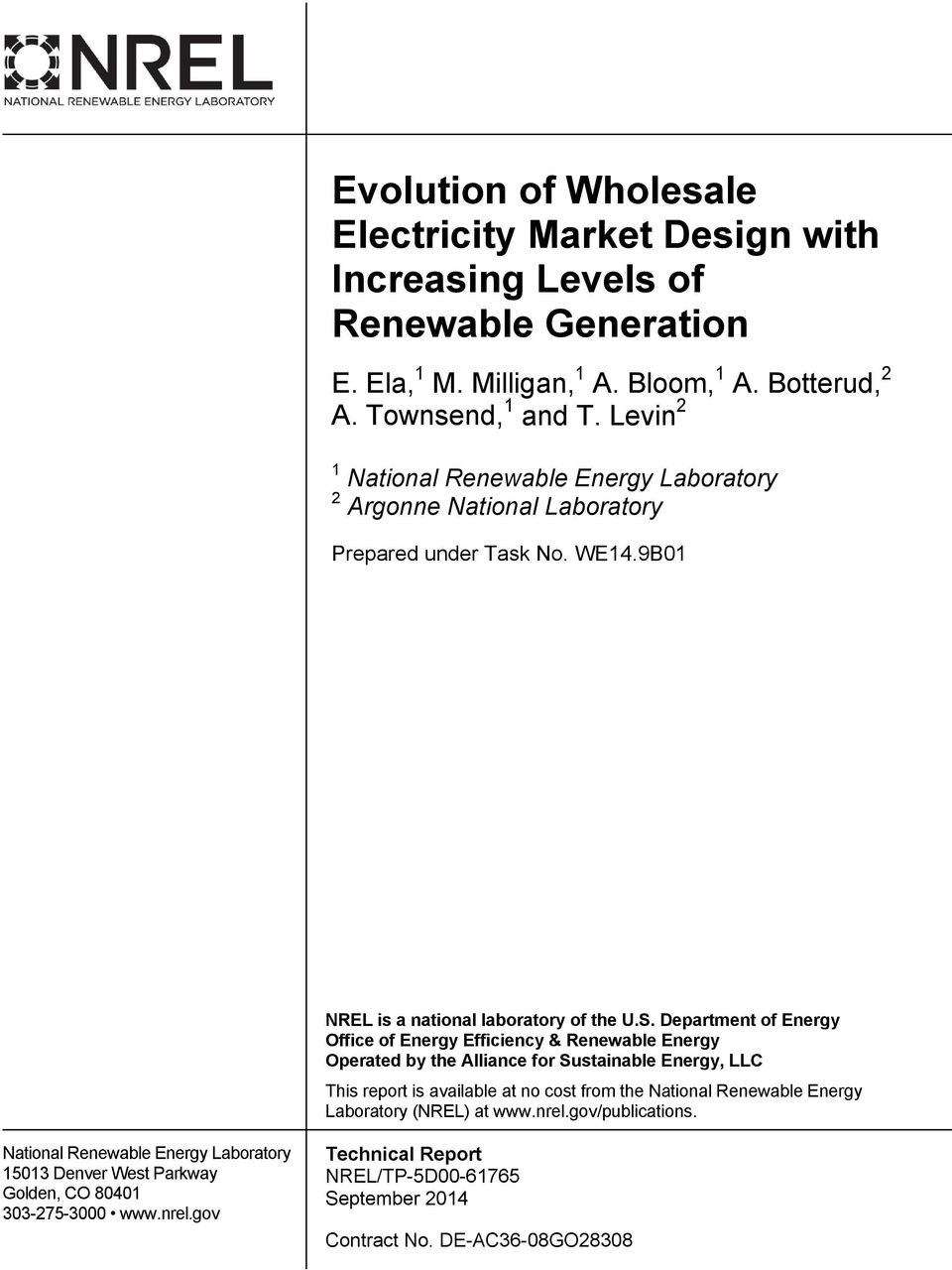Department of Energy Office of Energy Efficiency & Renewable Energy Operated by the Alliance for Sustainable Energy, LLC This report is available at no cost from the National Renewable