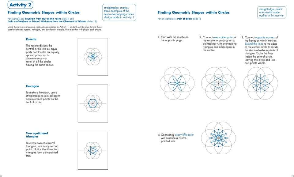 one rosette made earlier in this activity Using the seven overlapping circles design created in Activity 1, students will be able to find three possible shapes: rosette, hexagon, and equilateral