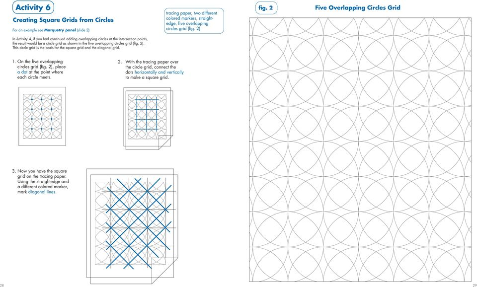grid (fig. 2). This circle grid is the basis for the square grid and the diagonal grid. 1. On the five overlapping 2. circles grid (fig. 2), place a dot at the point where each circle meets.