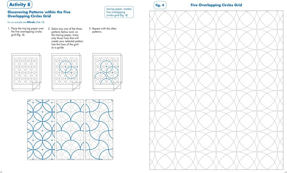 Place the tracing paper over the five overlapping circles grid (fig. 4). 2.