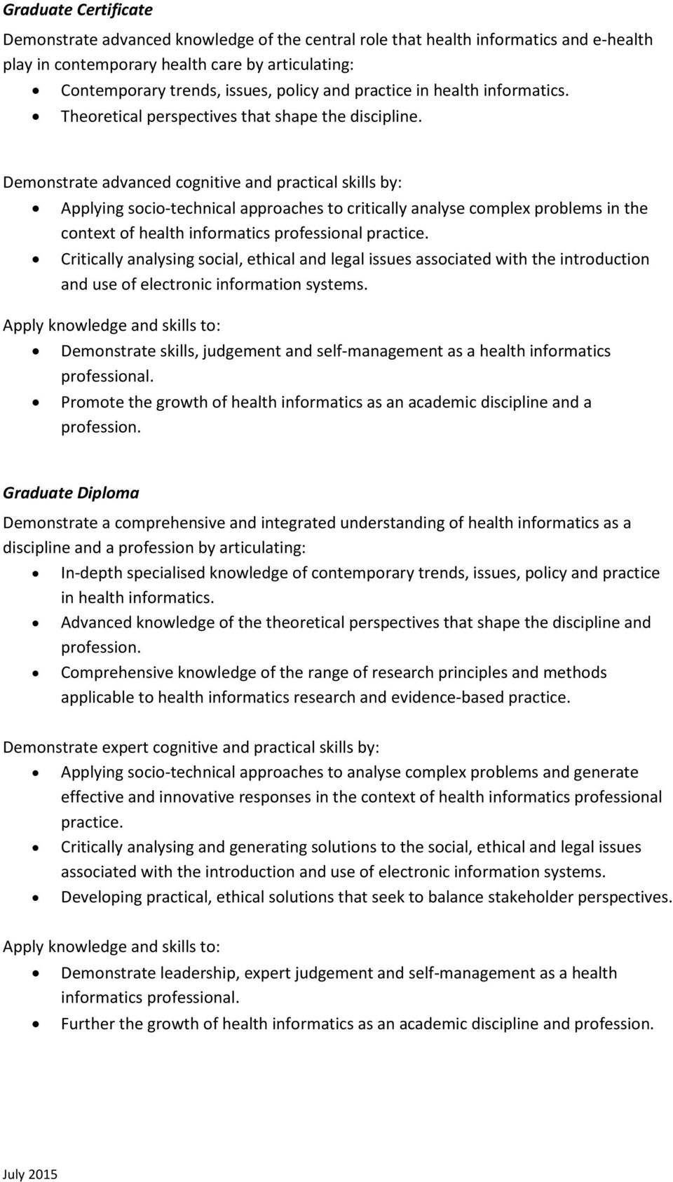 Masters Of E Health Health Informatics Incorporating Graduate