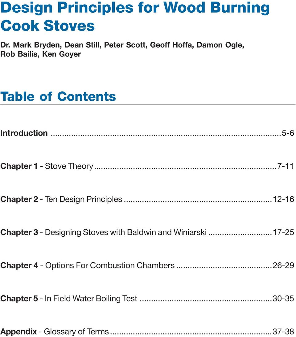 Introduction...5-6 Chapter 1 - Stove Theory...7-11 Chapter 2 - Ten Design Principles.