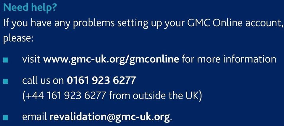 accout, please: visit www.gmc-uk.