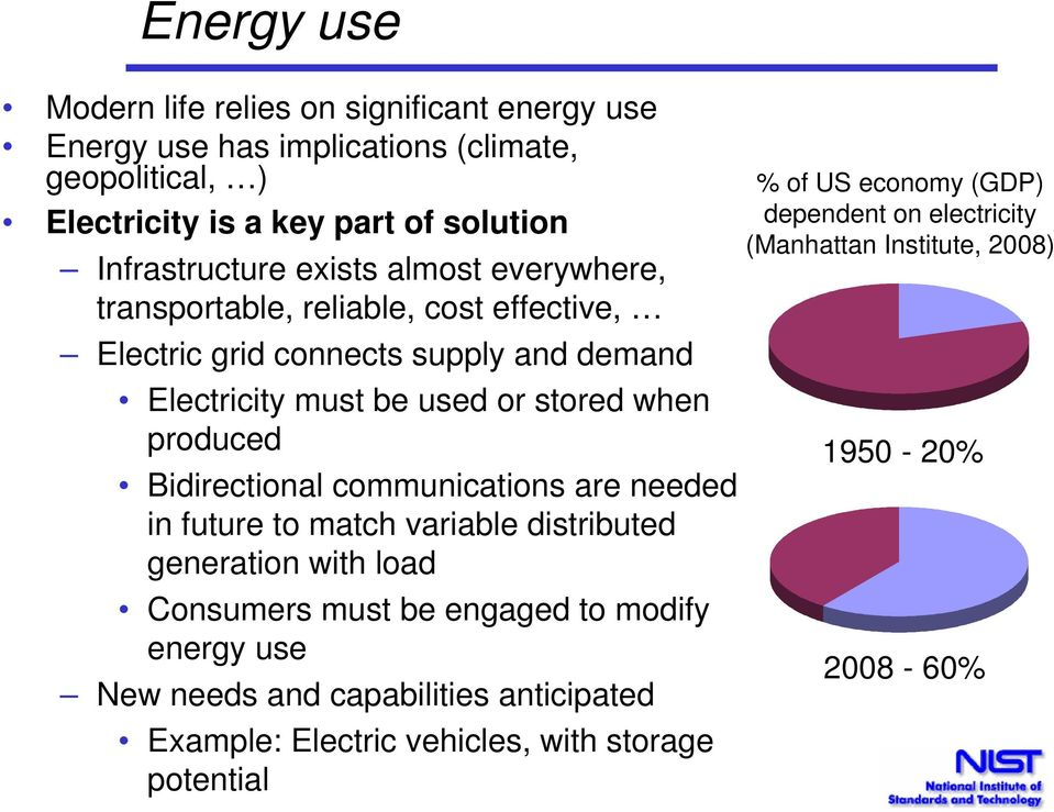 Bidirectional communications are needed in future to match variable distributed generation with load Consumers must be engaged to modify energy use New needs and