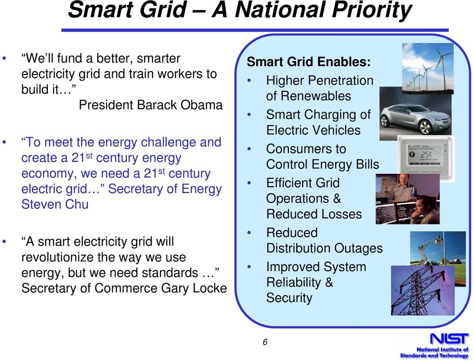 revolutionize the way we use energy, but we need standards Secretary of Commerce Gary Locke Smart Grid Enables: Higher Penetration of Renewables Smart