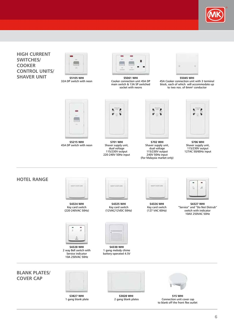 of 6mm 2 conductor S5215 WHI 45A DP switch with neon S701 WHI Shaver supply unit, dual voltage 115/230V output 220-240V 50Hz input S702 WHI Shaver supply unit, dual voltage 115/230V output 240V 50Hz