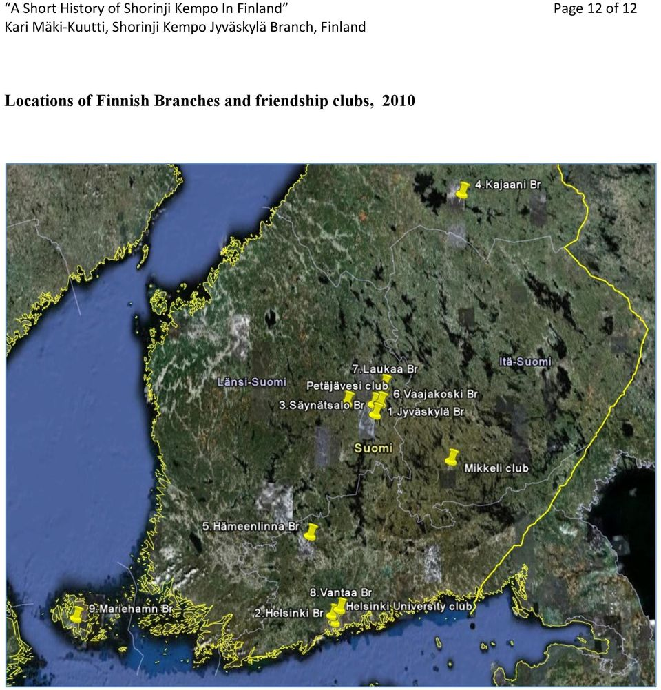 12 Locations of Finnish
