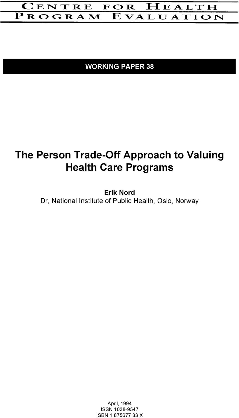 National Institute of Public Health, Oslo,