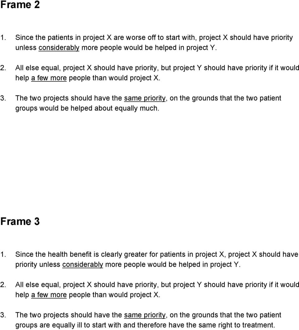 Since the health benefit is clearly greater for patients in project X, project X should have priority unless considerably more people would be helped in project Y. 2.