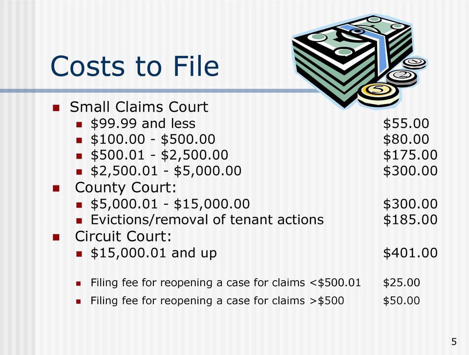 00 Circuit Court: $15,000.01 and up $401.00 Filing fee for reopening a case for claims <$500.