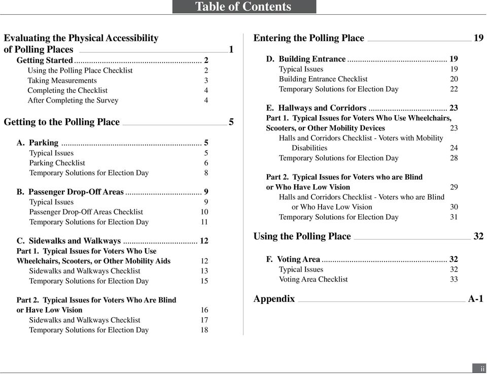 .. 5 Typical Issues 5 Parking Checklist 6 Temporary Solutions for Election Day 8 B. Passenger Drop-Off Areas.