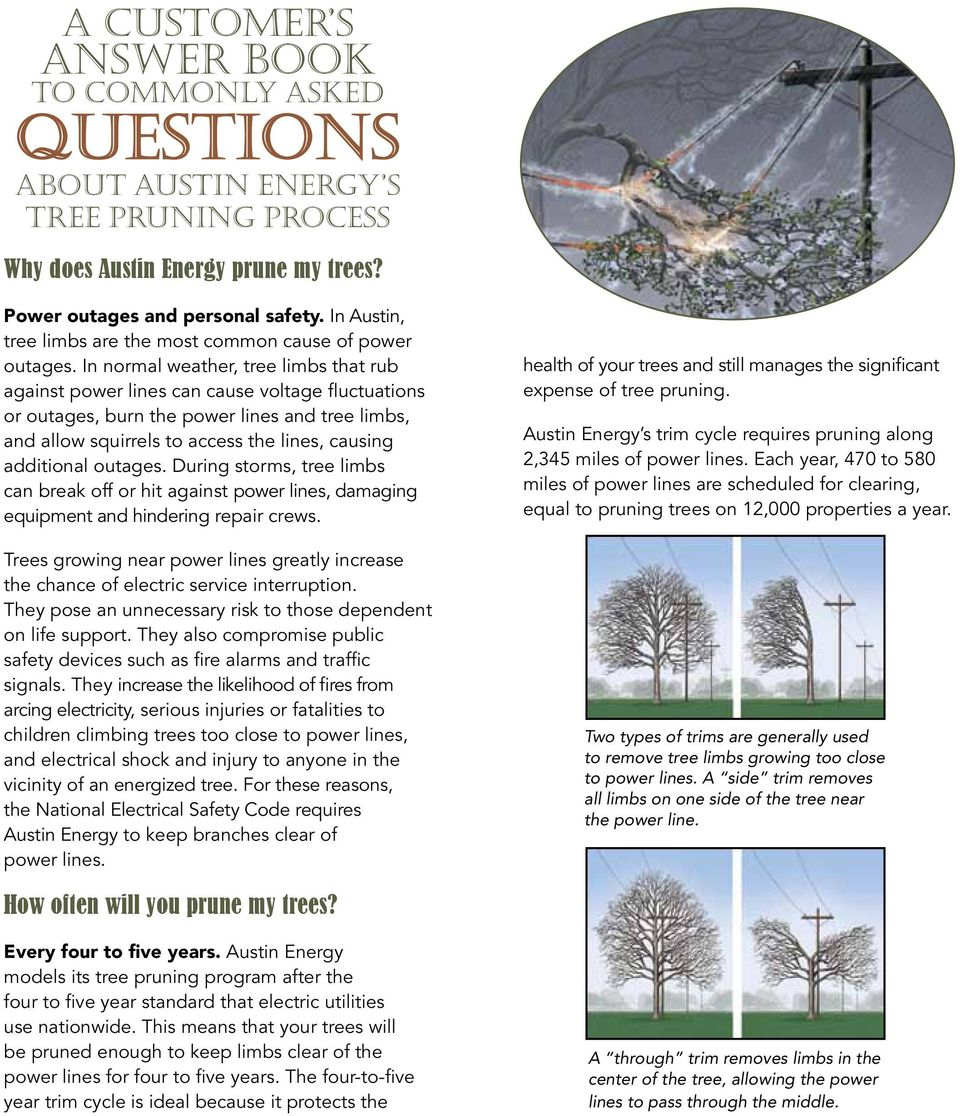 In normal weather, tree limbs that rub against power lines can cause voltage fluctuations or outages, burn the power lines and tree limbs, and allow squirrels to access the lines, causing additional