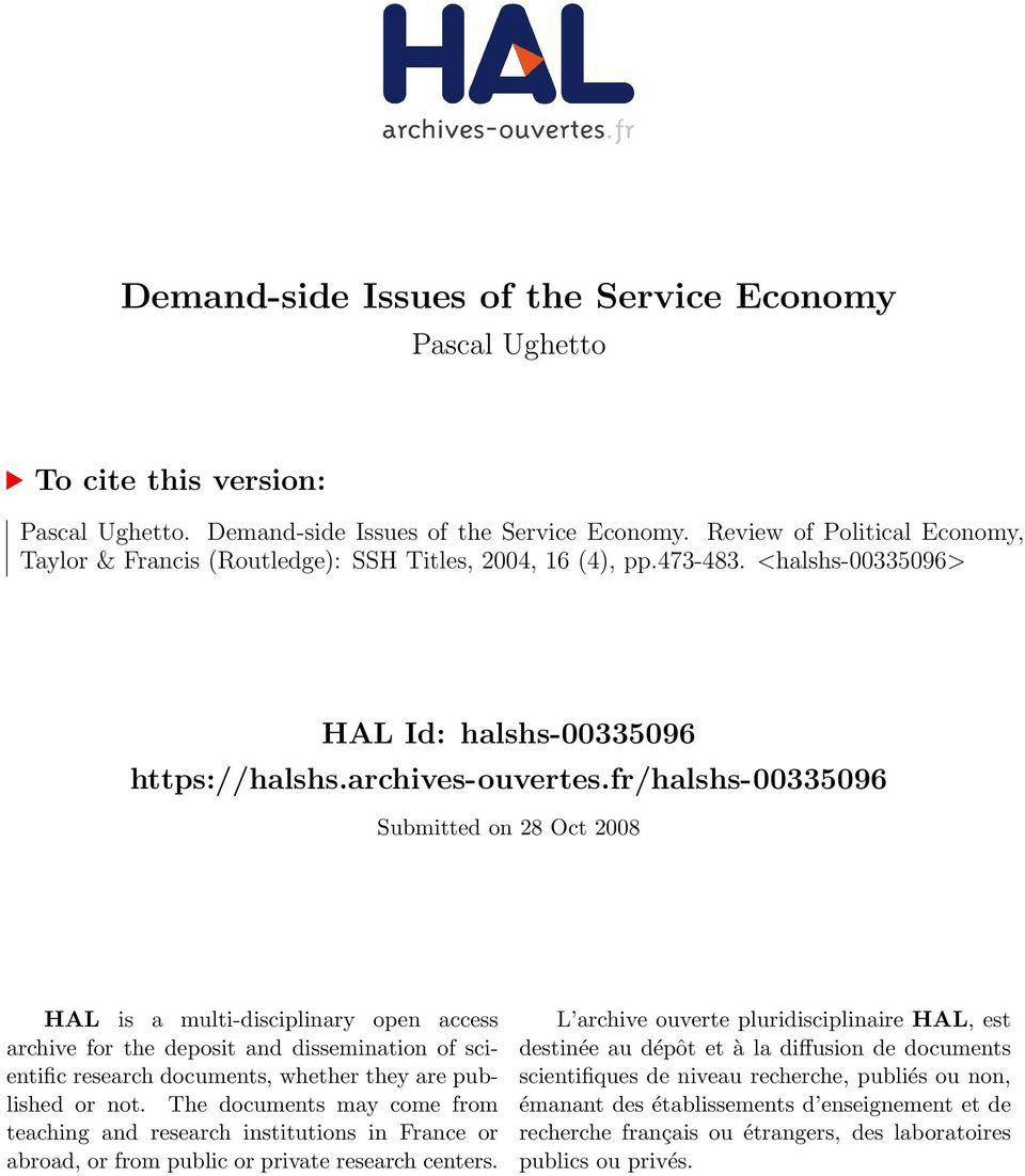 fr/halshs-00335096 Submitted on 28 Oct 2008 HAL is a multi-disciplinary open access archive for the deposit and dissemination of scientific research documents, whether they are published or not.