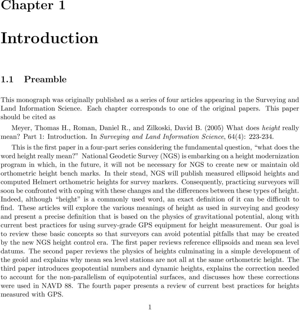 Part 1: Introduction. In Surveying and Land Information Science, 64(4): 223-234.