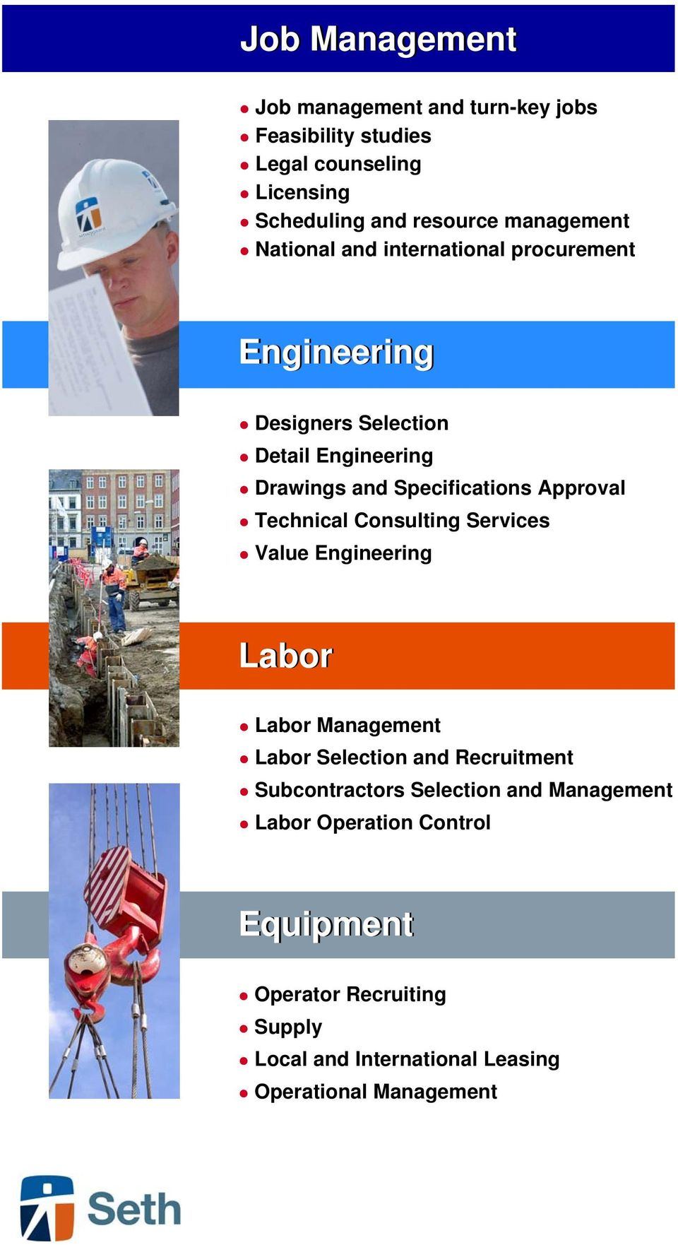 Approval Technical Consulting Services Value Engineering Labor Labor Management Labor Selection and Recruitment Subcontractors