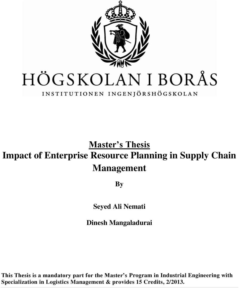 thesis on supply chain management in industry