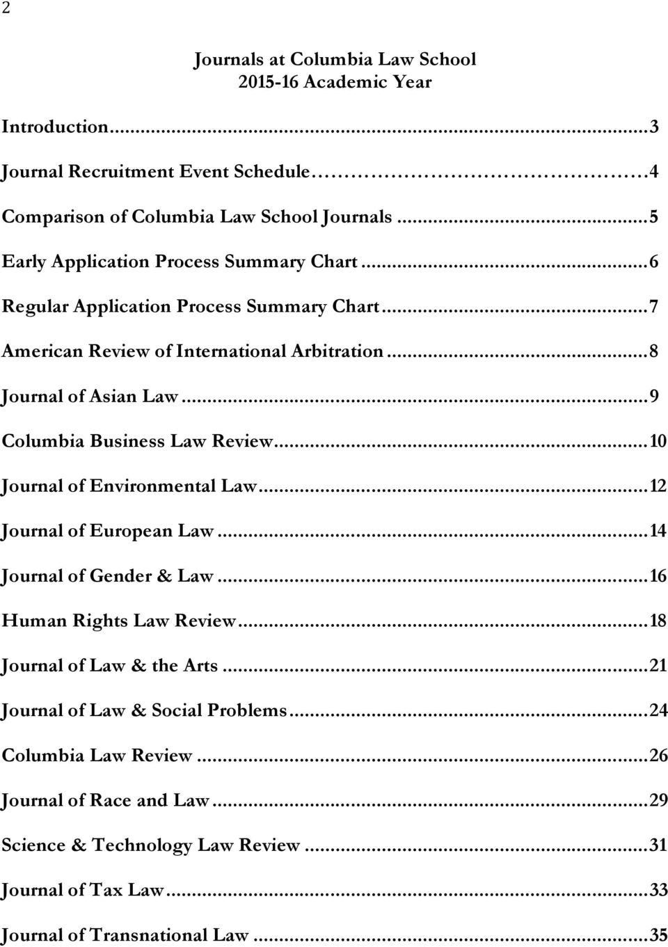 .. 9 Columbia Business Law Review... 10 Journal of Environmental Law... 12 Journal of European Law... 14 Journal of Gender & Law... 16 Human Rights Law Review.