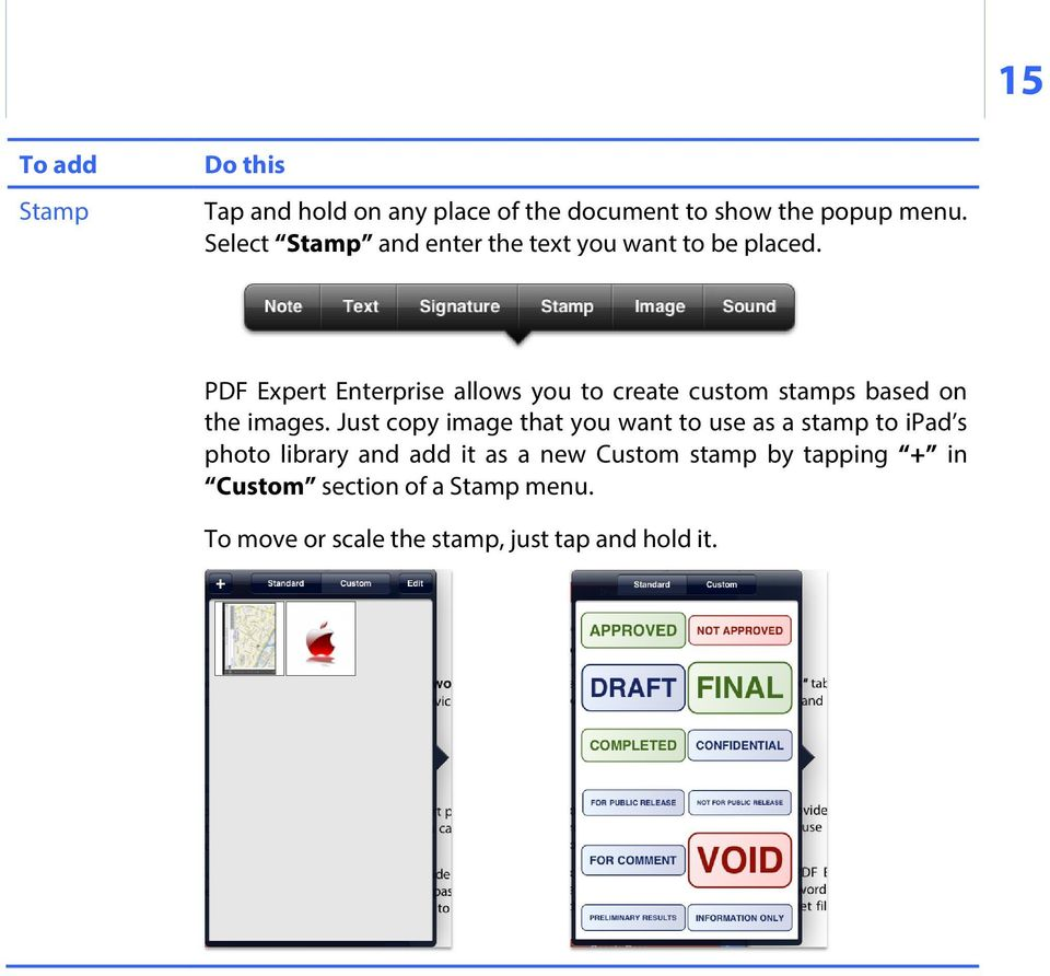 PDF Expert Enterprise allows you to create custom stamps based on the images.