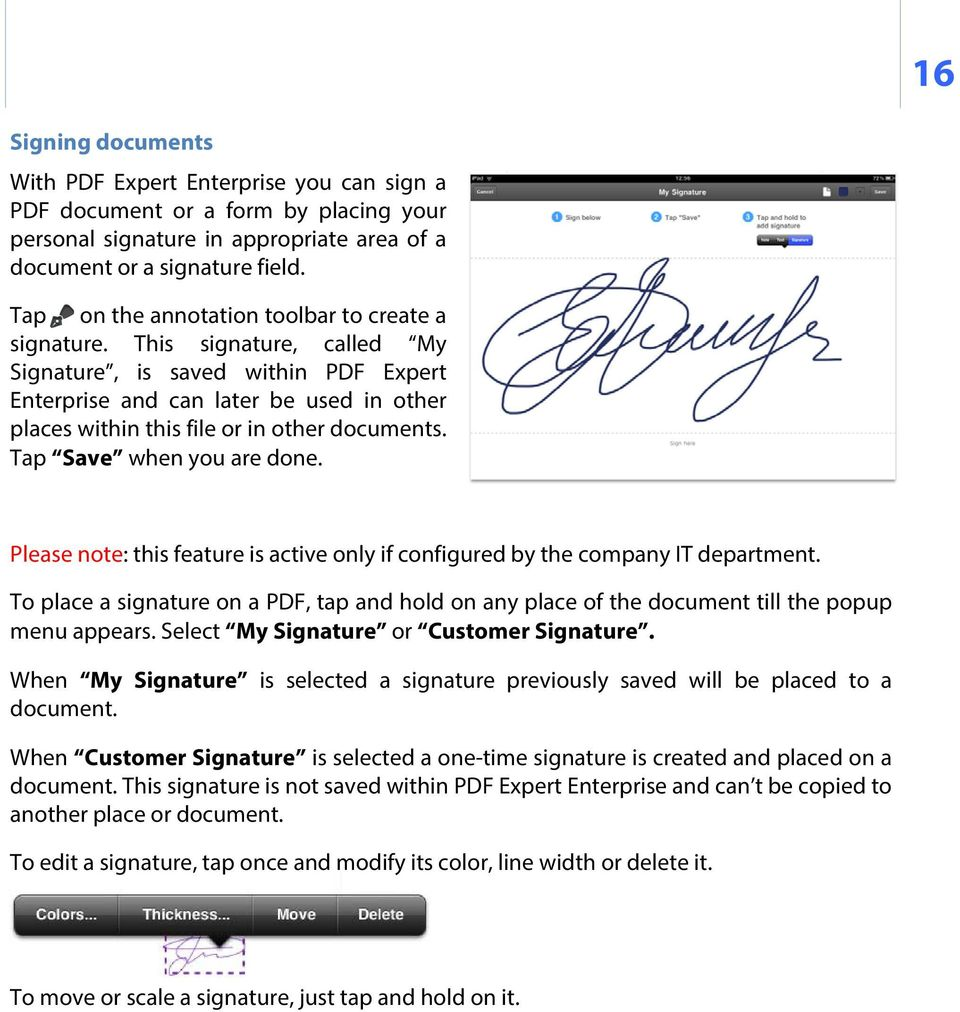 This signature, called My Signature, is saved within PDF Expert Enterprise and can later be used in other places within this file or in other documents. Tap Save when you are done.