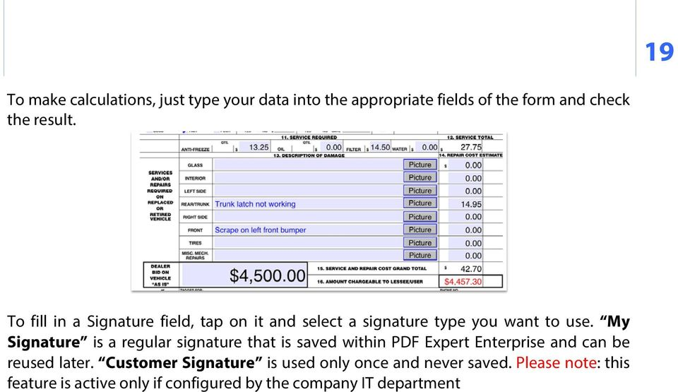 My Signature is a regular signature that is saved within PDF Expert Enterprise and can be reused later.