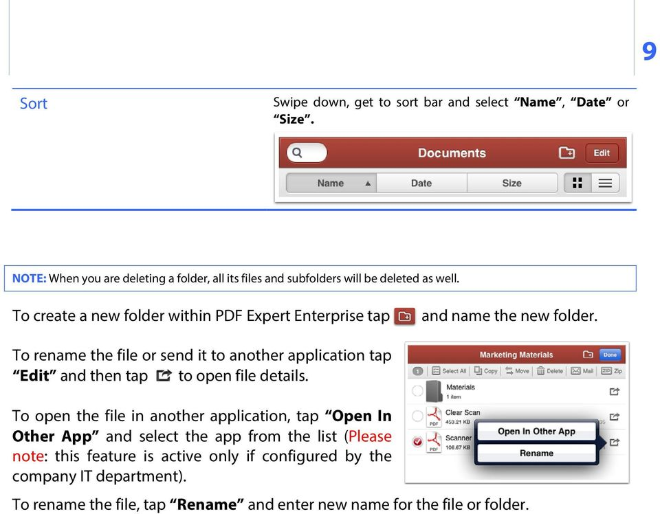To create a new folder within PDF Expert Enterprise tap and name the new folder.