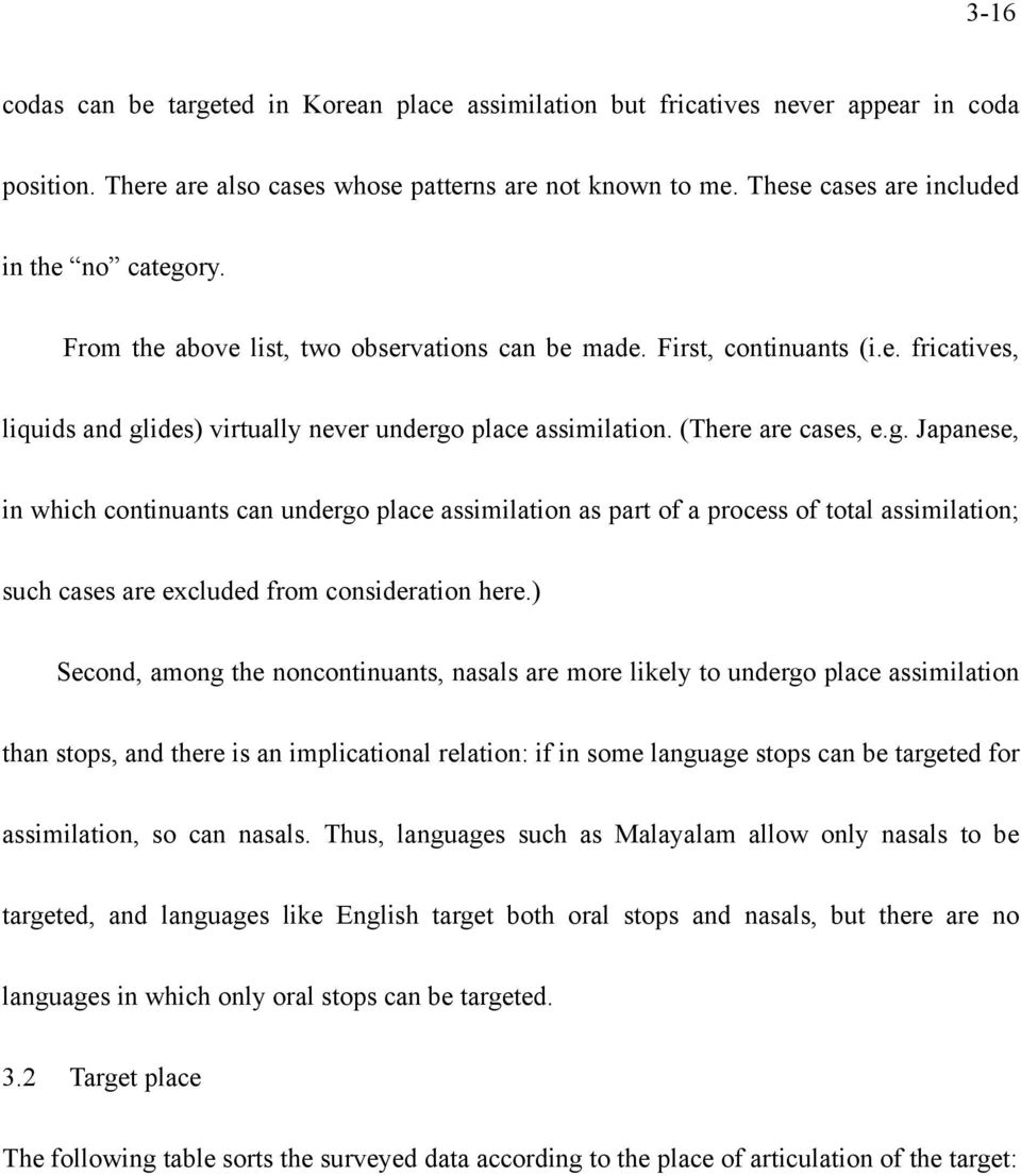(There are cases, e.g. Japanese, in which continuants can undergo place assimilation as part of a process of total assimilation; such cases are excluded from consideration here.