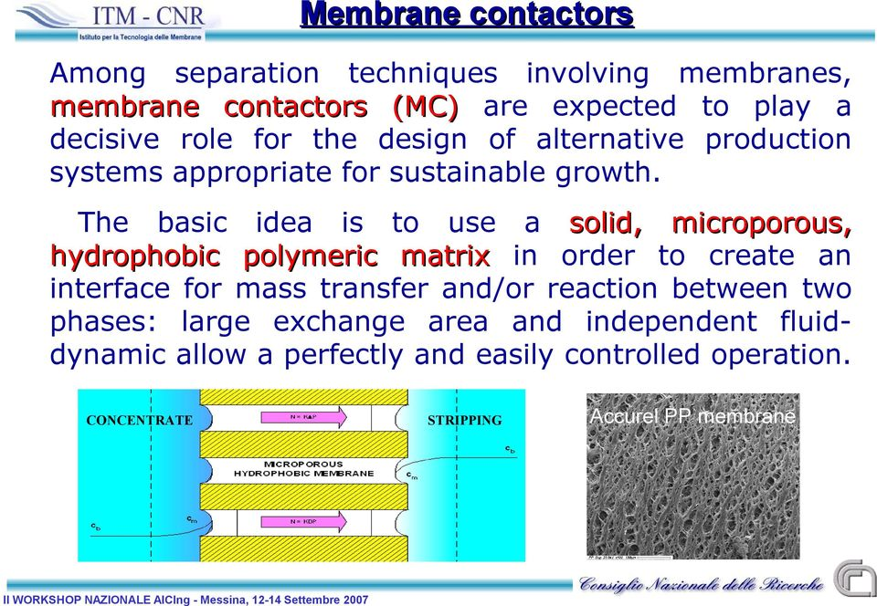 The basic idea is to use a solid, microporous, hydrophobic polymeric matrix in order to create an interface for mass transfer
