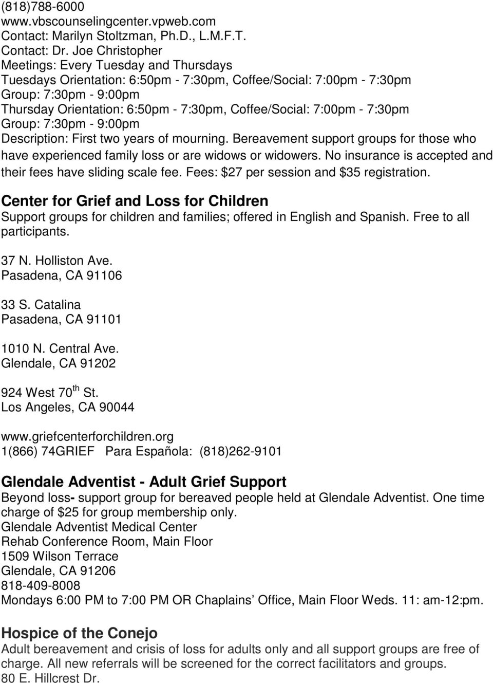 Bereavement resources in los angeles county pdf for 1509 wilson terrace glendale ca 91206