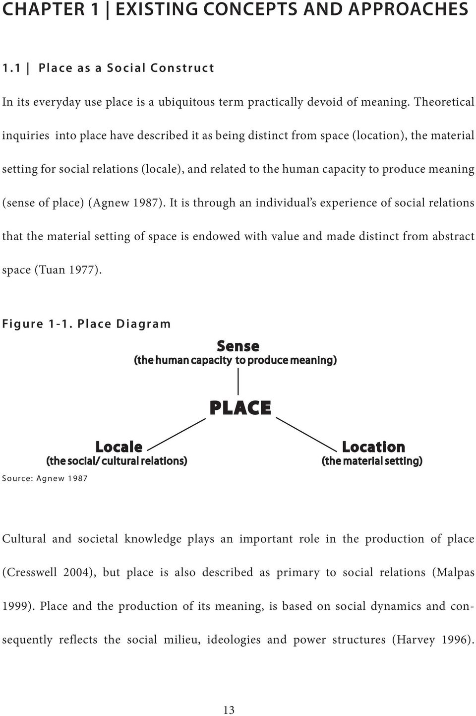 (sense of place) (Agnew 1987). It is through an individual s experience of social relations that the material setting of space is endowed with value and made distinct from abstract space (Tuan 1977).