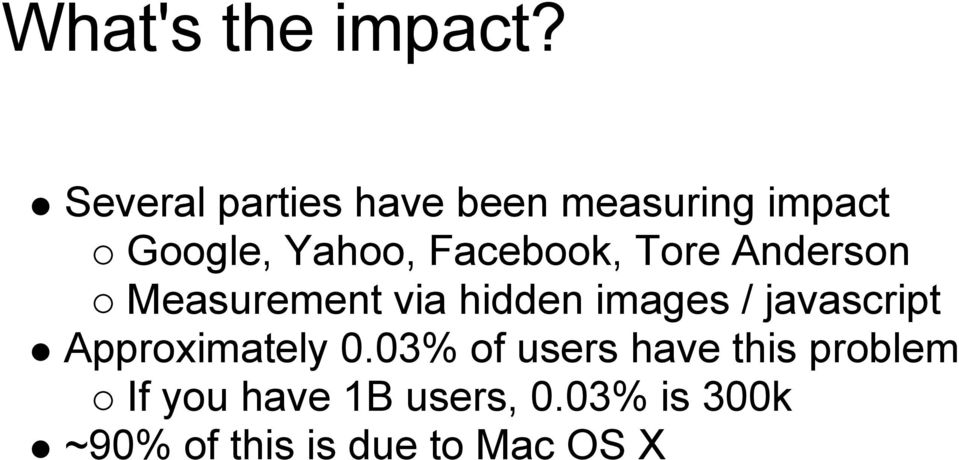 Facebook, Tore Anderson Measurement via hidden images /