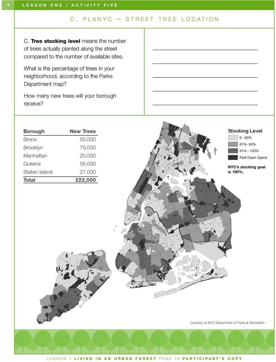 What is the percentage of trees in your neighborhood, according to the Parks Department map? How many new trees will your borough receive?