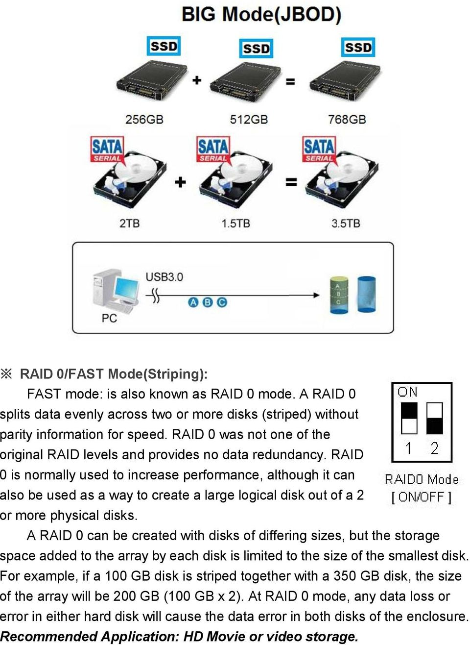 RAID 0 is normally used to increase performance, although it can also be used as a way to create a large logical disk out of a 2 or more physical disks.
