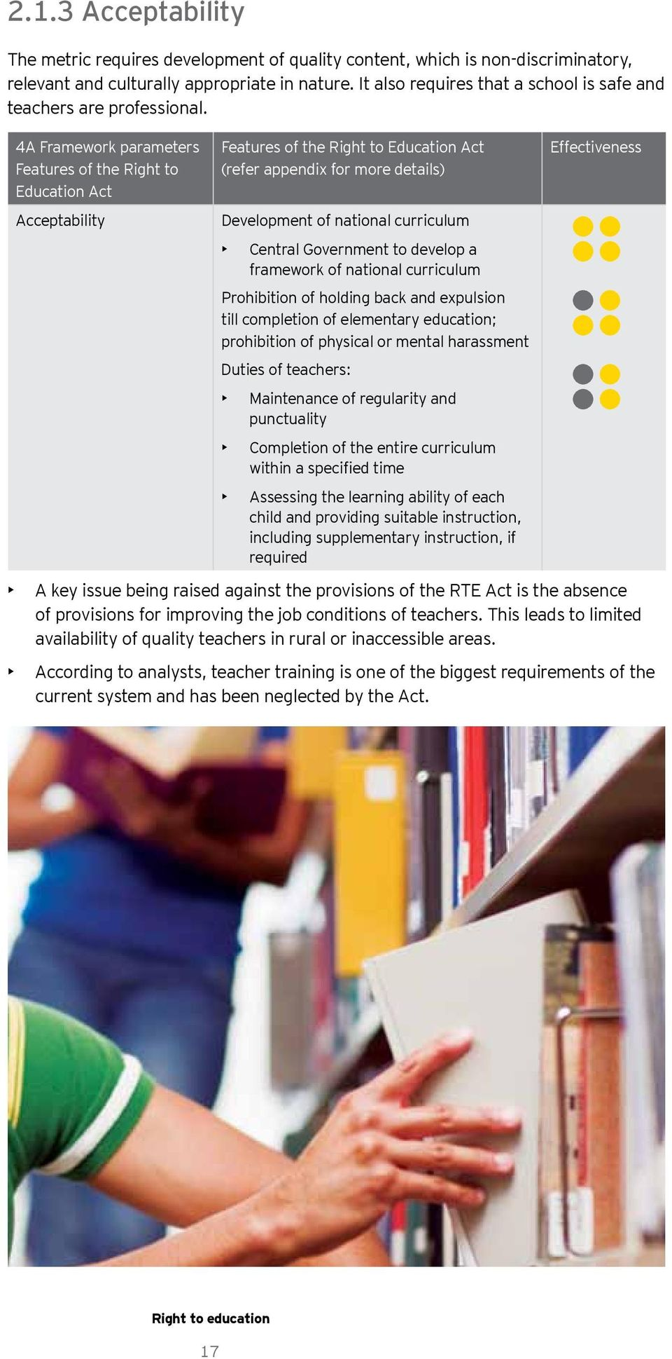 4A Framework parameters Features of the Right to Education Act Acceptability Features of the Right to Education Act (refer appendix for more details) Development of national curriculum Central