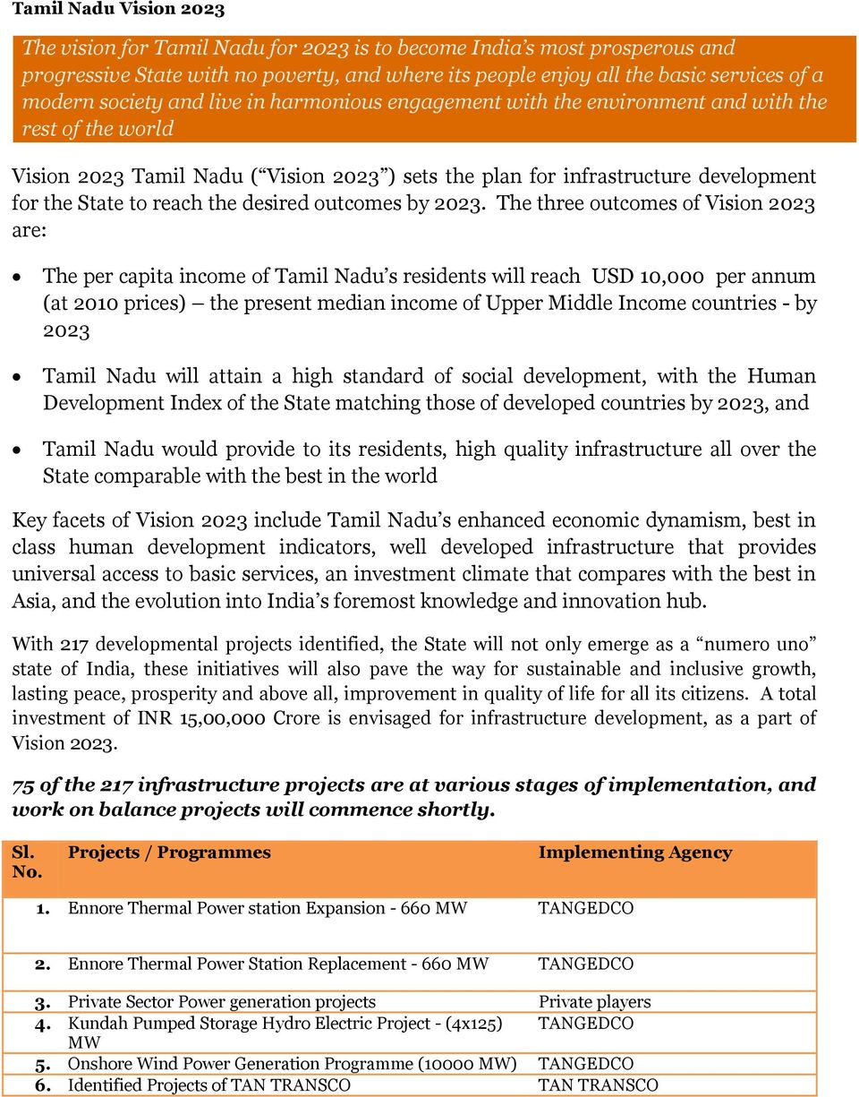 2023. The three outcomes of Vision 2023 are: The per capita income of Tamil s residents will reach USD 10,000 per annum (at 2010 prices) the present median income of Upper Middle Income countries -