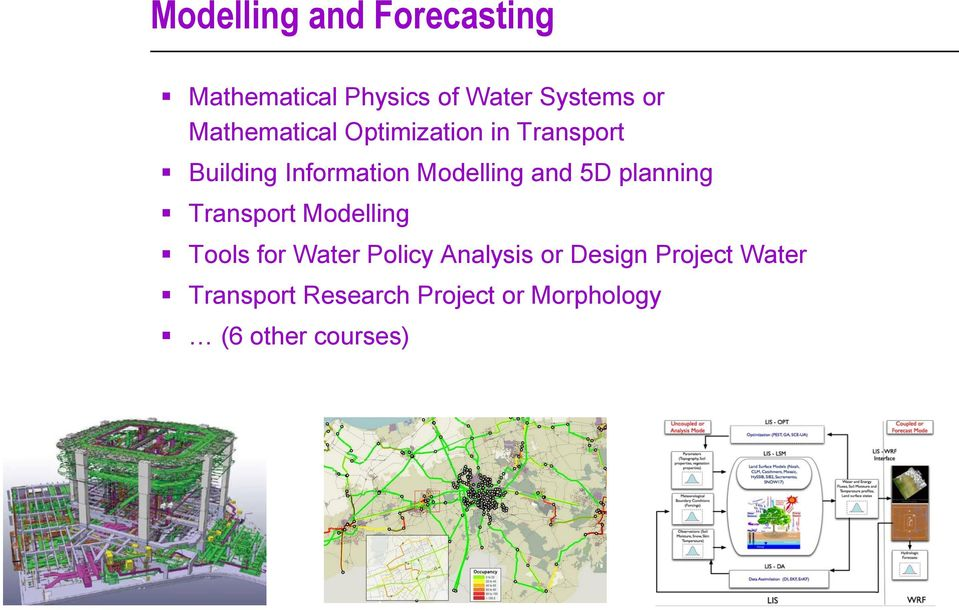 and 5D planning Transport Modelling Tools for Water Policy Analysis or