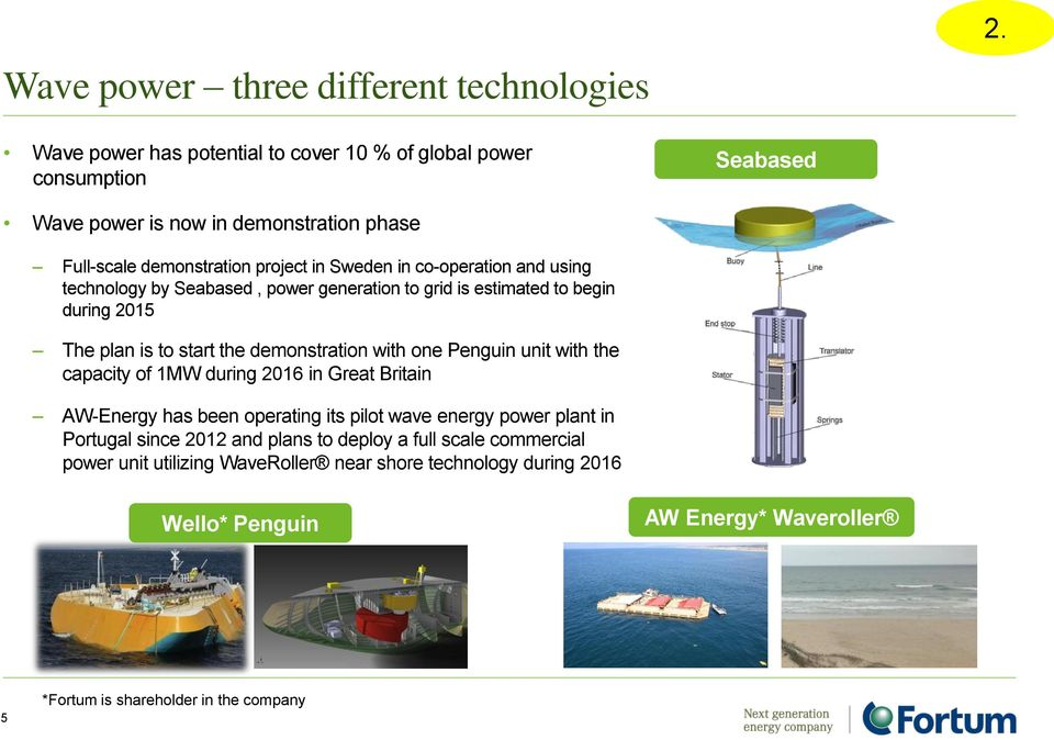 co-operation and using technology by Seabased, power generation to grid is estimated to begin during 2015 The plan is to start the demonstration with one Penguin unit with