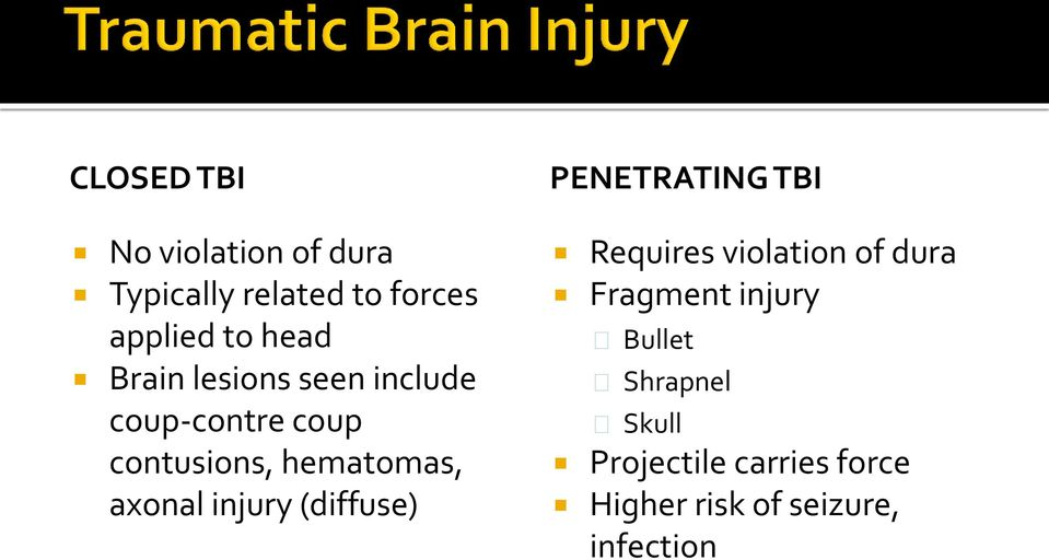injury (diffuse) PENETRATING TBI Requires violation of dura Fragment injury