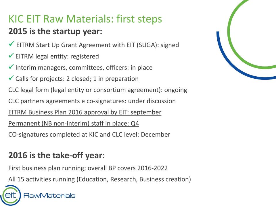 co-signatures: under discussion EITRM Business Plan 2016 approval by EIT: september Permanent (NB non-interim) staff in place: Q4 CO-signatures completed at KIC and