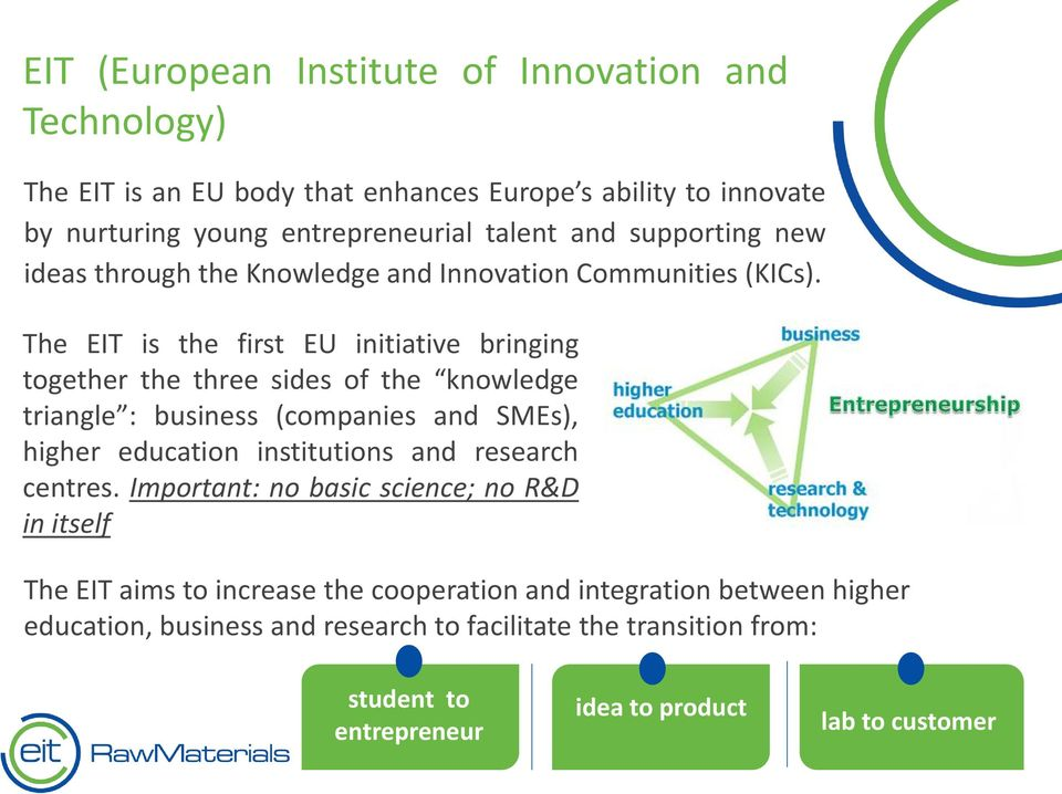 The EIT is the first EU initiative bringing together the three sides of the knowledge triangle : business (companies and SMEs), higher education institutions and