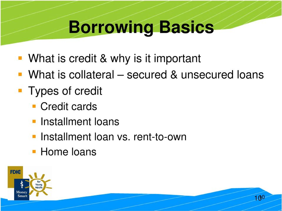 loans Types of credit Credit cards Installment