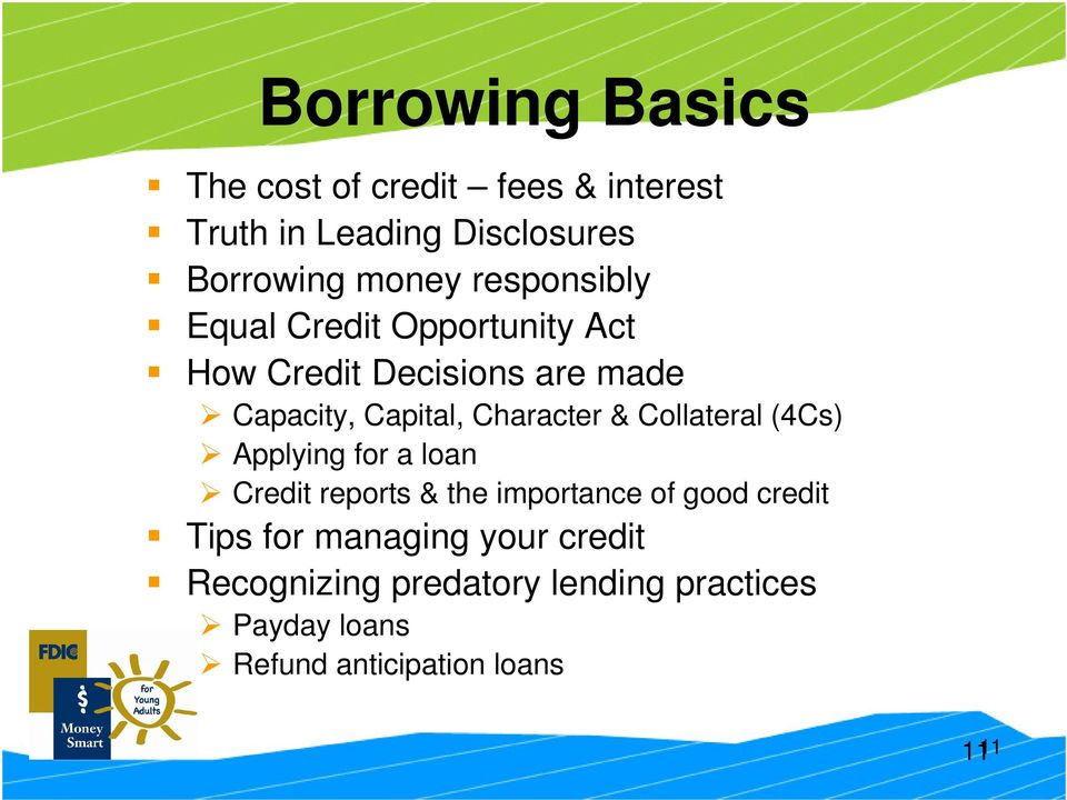 Character & Collateral (4Cs) Applying for a loan Credit reports & the importance of good credit