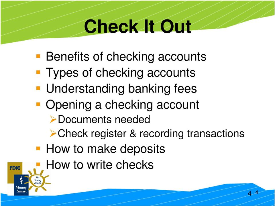 checking account Documents needed Check register &