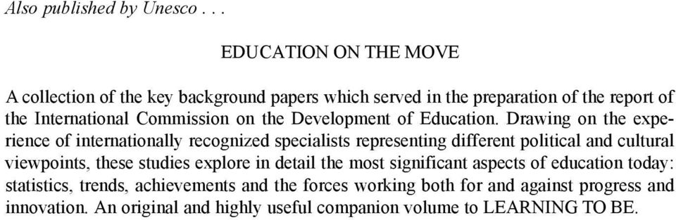 on the Development of Education.