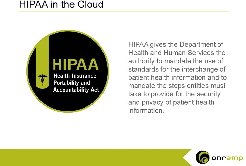 patient health information and to mandate the steps entities must