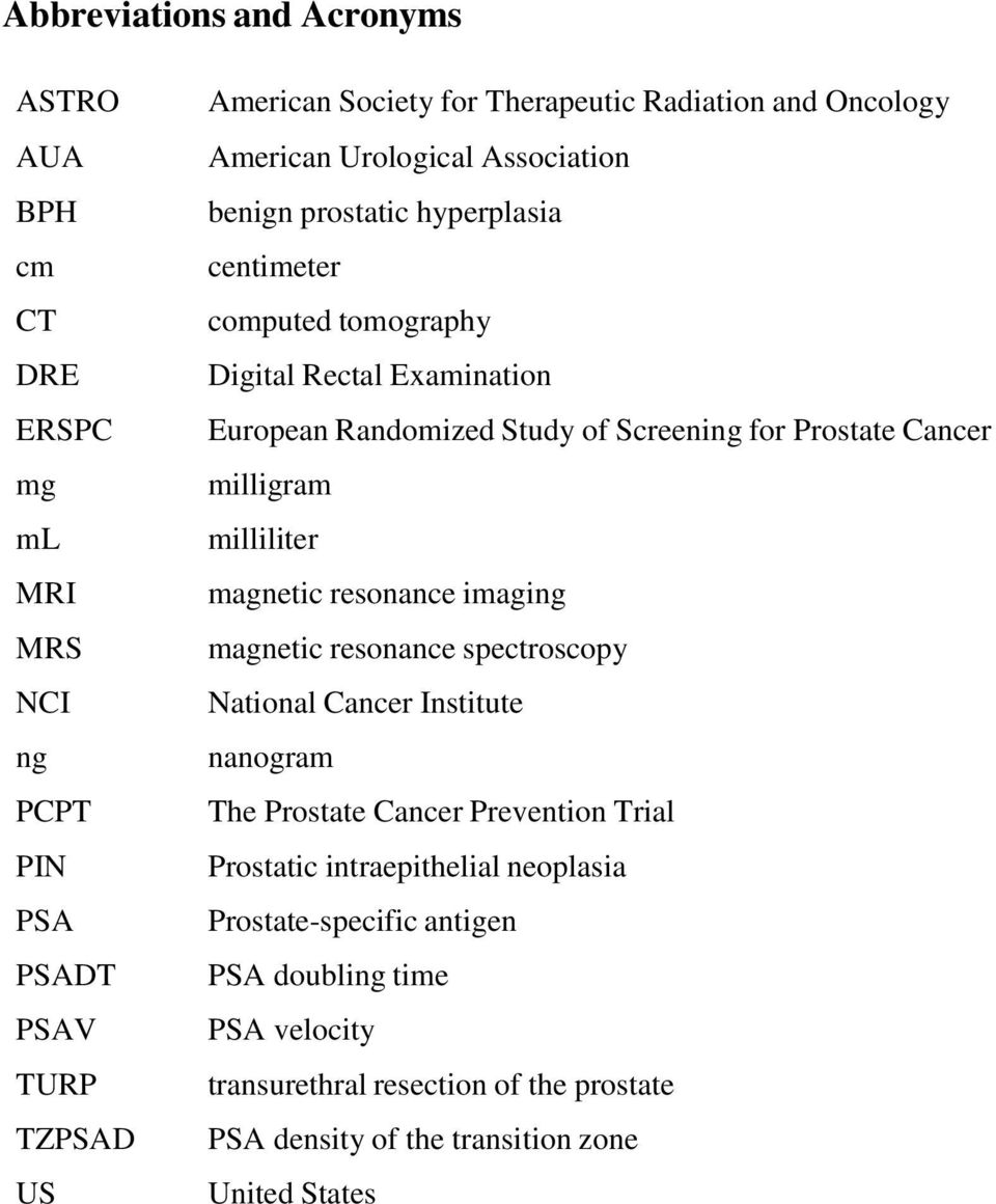 Prostate Cancer milligram milliliter magnetic resonance imaging magnetic resonance spectroscopy National Cancer Institute nanogram The Prostate Cancer Prevention Trial