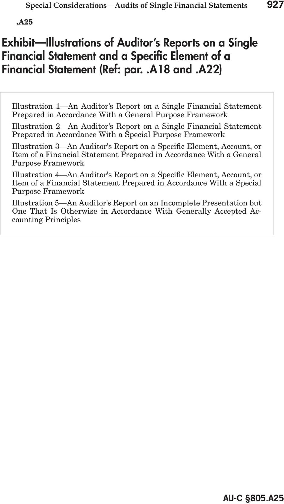 a22) Illustration 1 An Auditor's Report on a Single Financial Statement Prepared in Accordance With a General Purpose Framework Illustration 2 An Auditor's Report on a Single Financial Statement